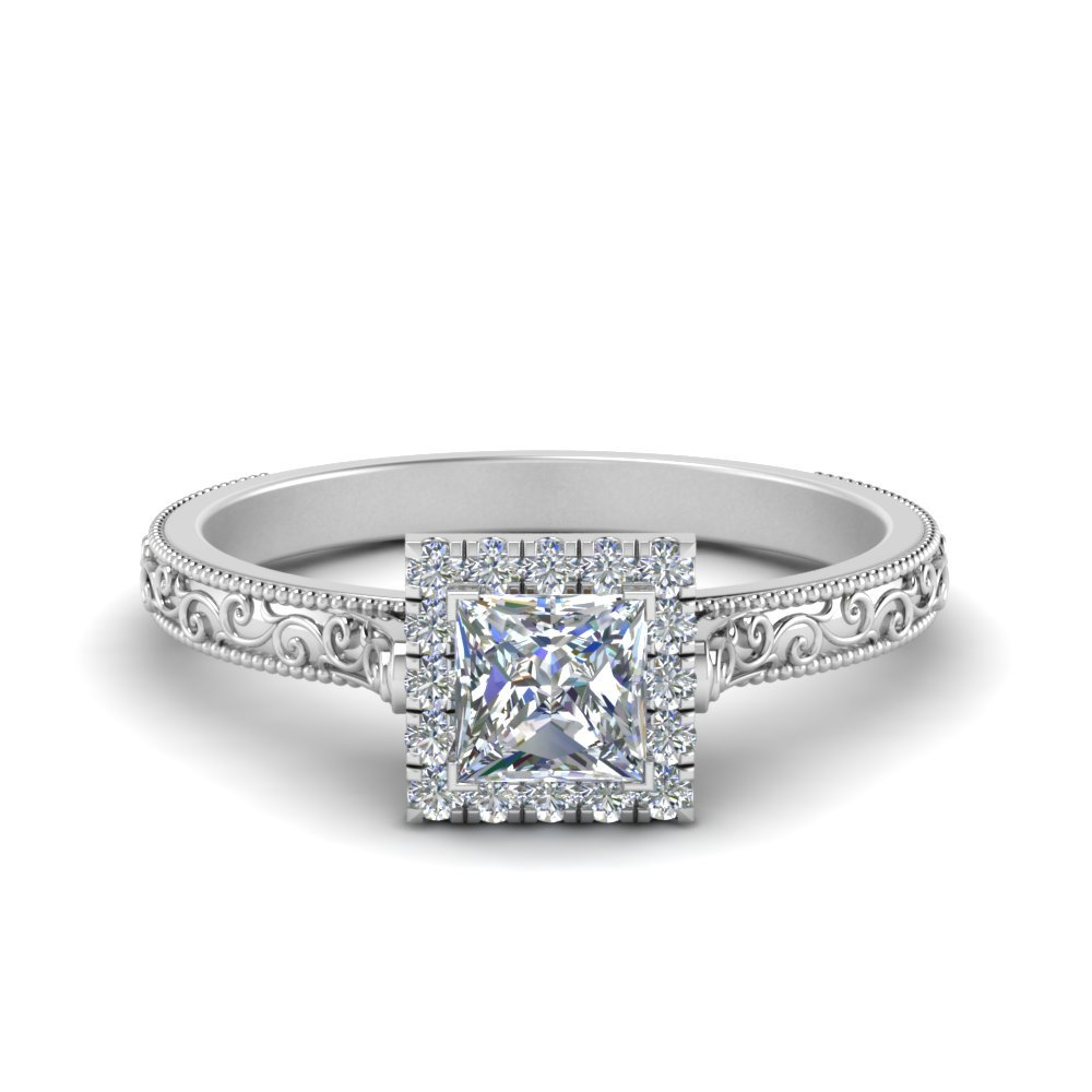 Engraved Princess Cut Halo Ring