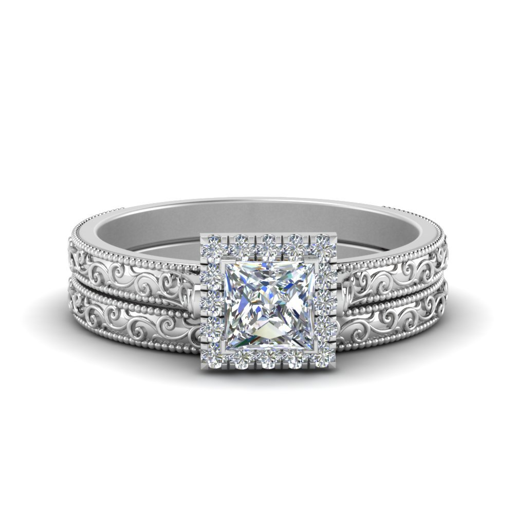 Hand Engraved Princess Cut Halo Diamond Wedding Ring Set In 14K White Gold