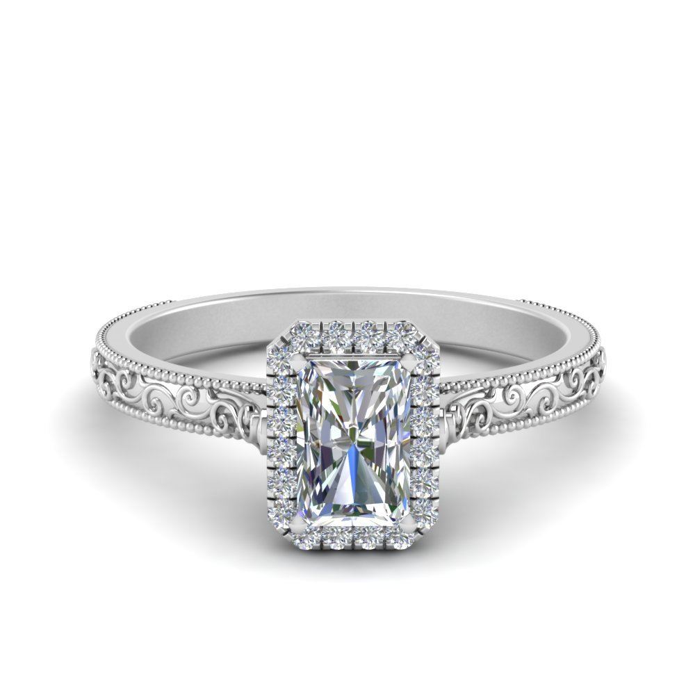 Hand Engraved Radiant Cut Halo Diamond Engagement Ring In 14K White Gold