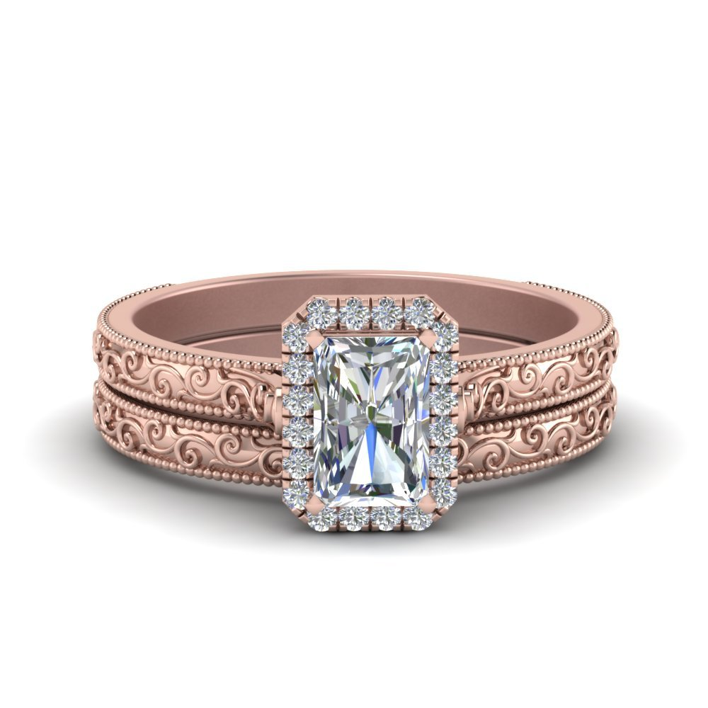 Hand Engraved Radiant Cut Halo Diamond Wedding Ring Set In 14K Rose Gold