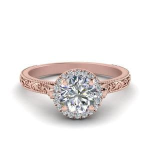Hand Engraved Round Cut Halo Diamond Engagement Ring In 14K Rose Gold