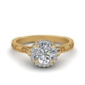 Hand Engraved Round Cut Halo Diamond Engagement Ring In 14K Yellow Gold