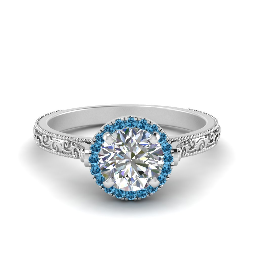 Hand Engraved Round Cut Halo Diamond Engagement Ring With Blue Topaz In 18K White Gold