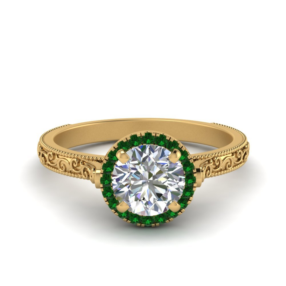 Hand Engraved Round Cut Halo Diamond Engagement Ring With Emerald In 18K Yellow Gold