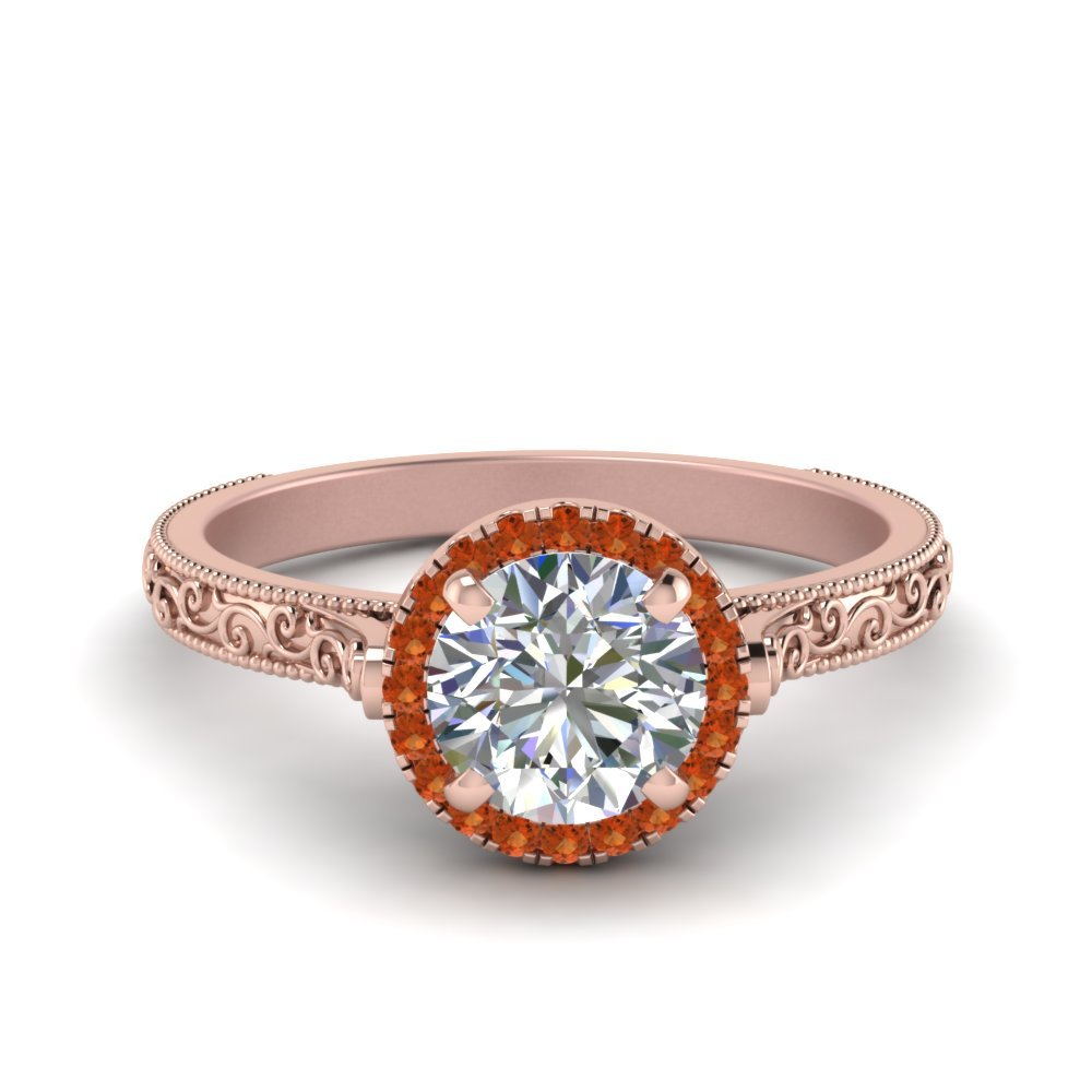 Hand Engraved Round Cut Halo Diamond Engagement Ring With Orange Sapphire In 14K Rose Gold