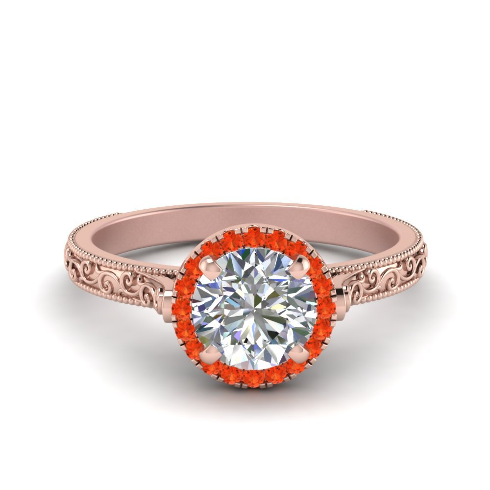 Hand Engraved Round Cut Halo Diamond Engagement Ring With Orange Topaz In 14K Rose Gold