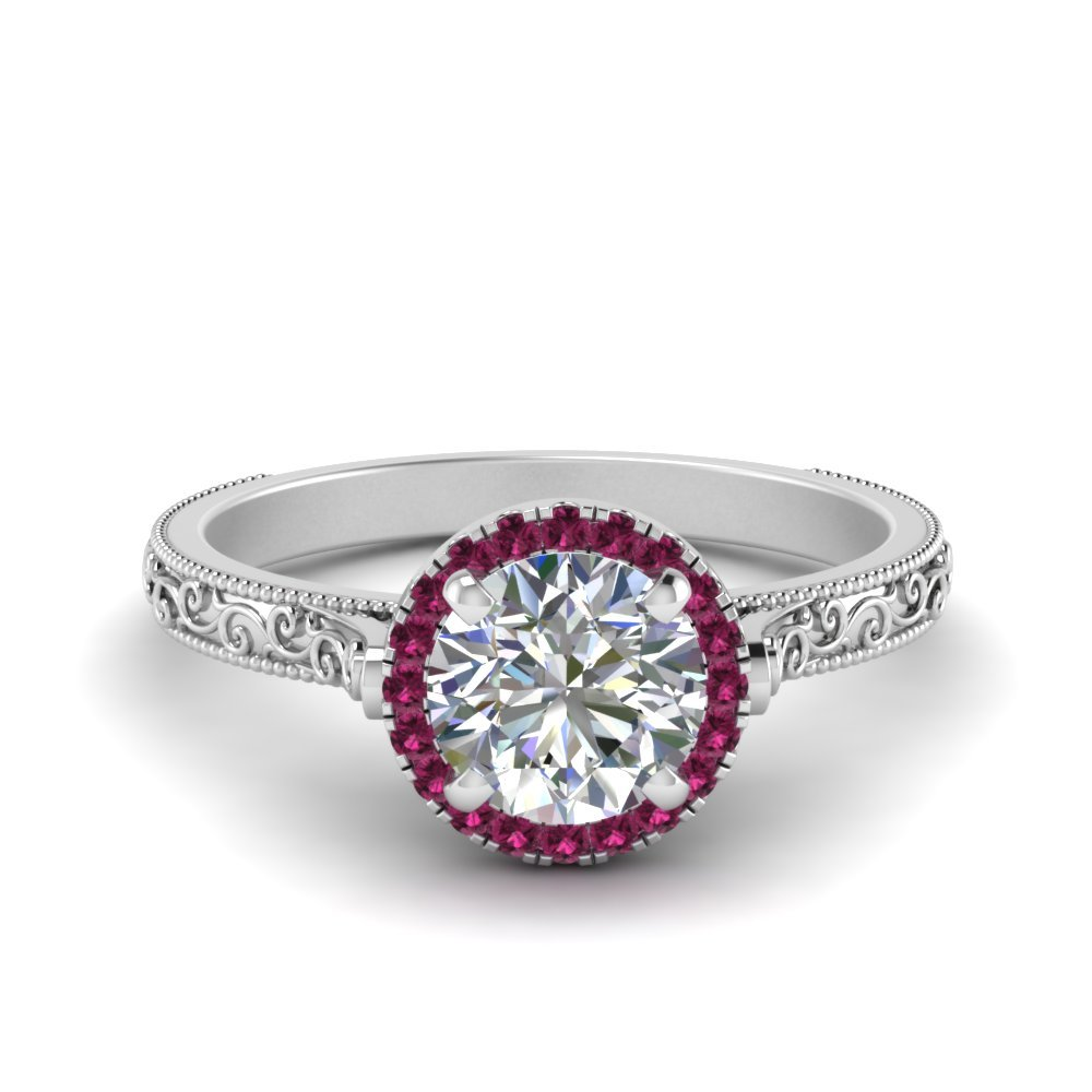 Hand Engraved Round Cut Halo Diamond Engagement Ring With Pink Sapphire In 14K White Gold