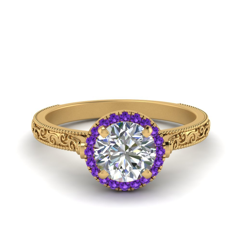 Hand Engraved Round Cut Halo Diamond Engagement Ring With Purple Topaz In 14K Yellow Gold