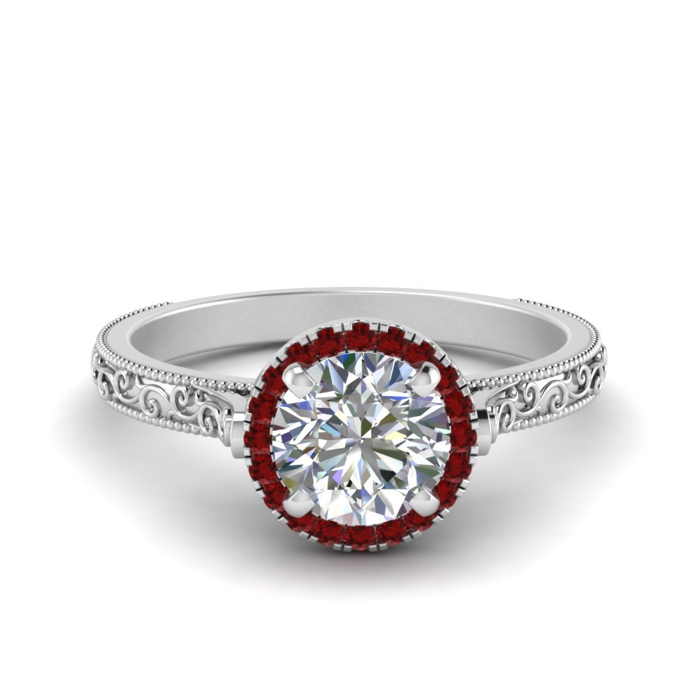 Hand Engraved Round Cut Halo Diamond Engagement Ring With Ruby In 18K White Gold