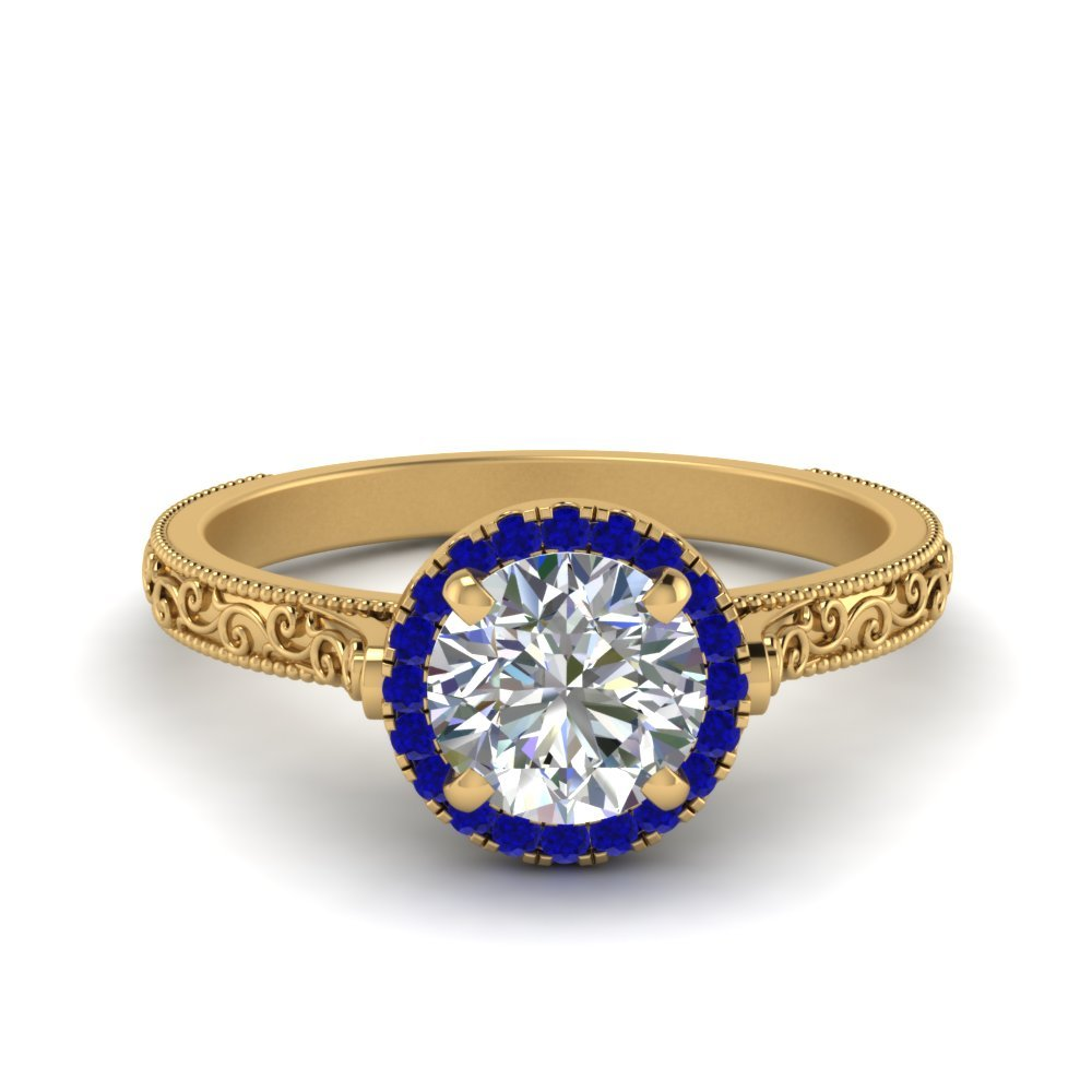 Hand Engraved Round Cut Halo Diamond Engagement Ring With Sapphire In 14K Yellow Gold
