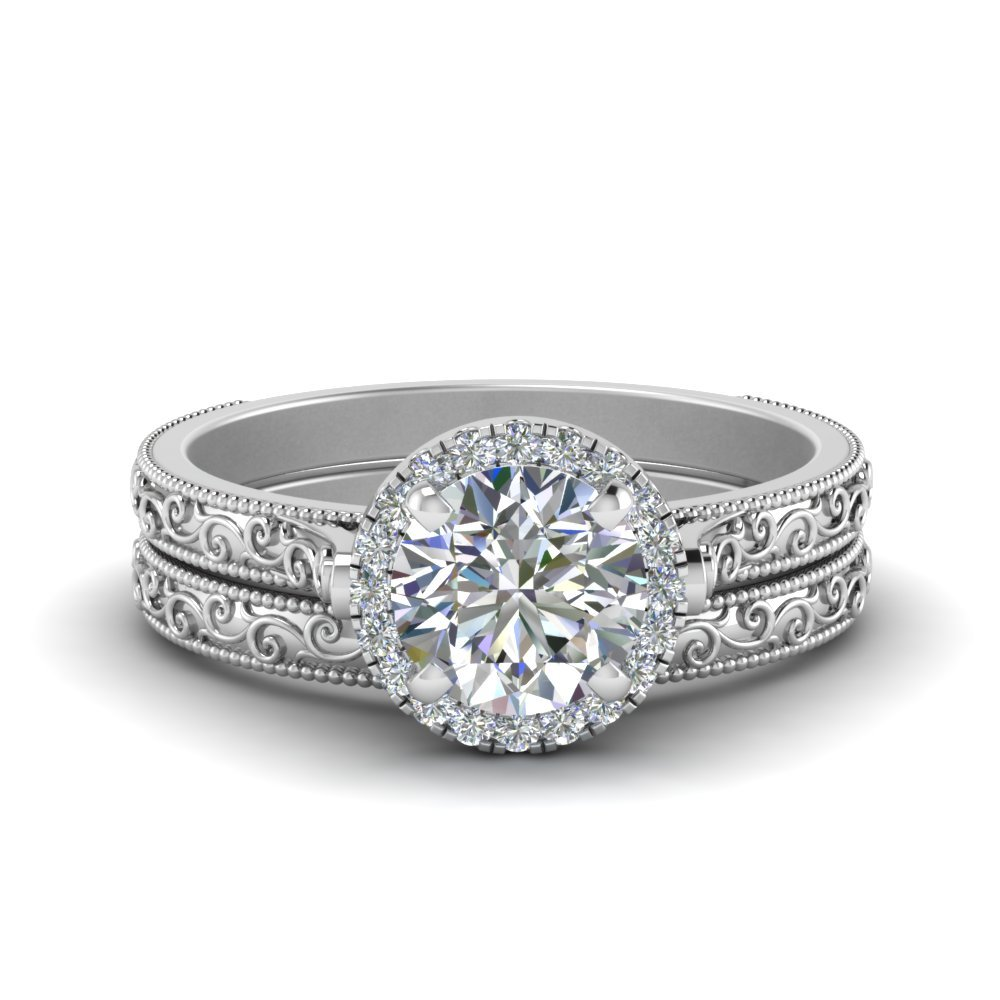 Hand Engraved Round Cut Halo Diamond Wedding Ring Set In 14K White Gold