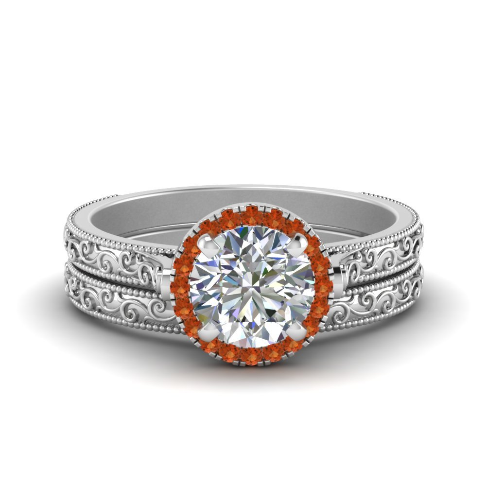 Halo Orange Sapphire Wedding Set
