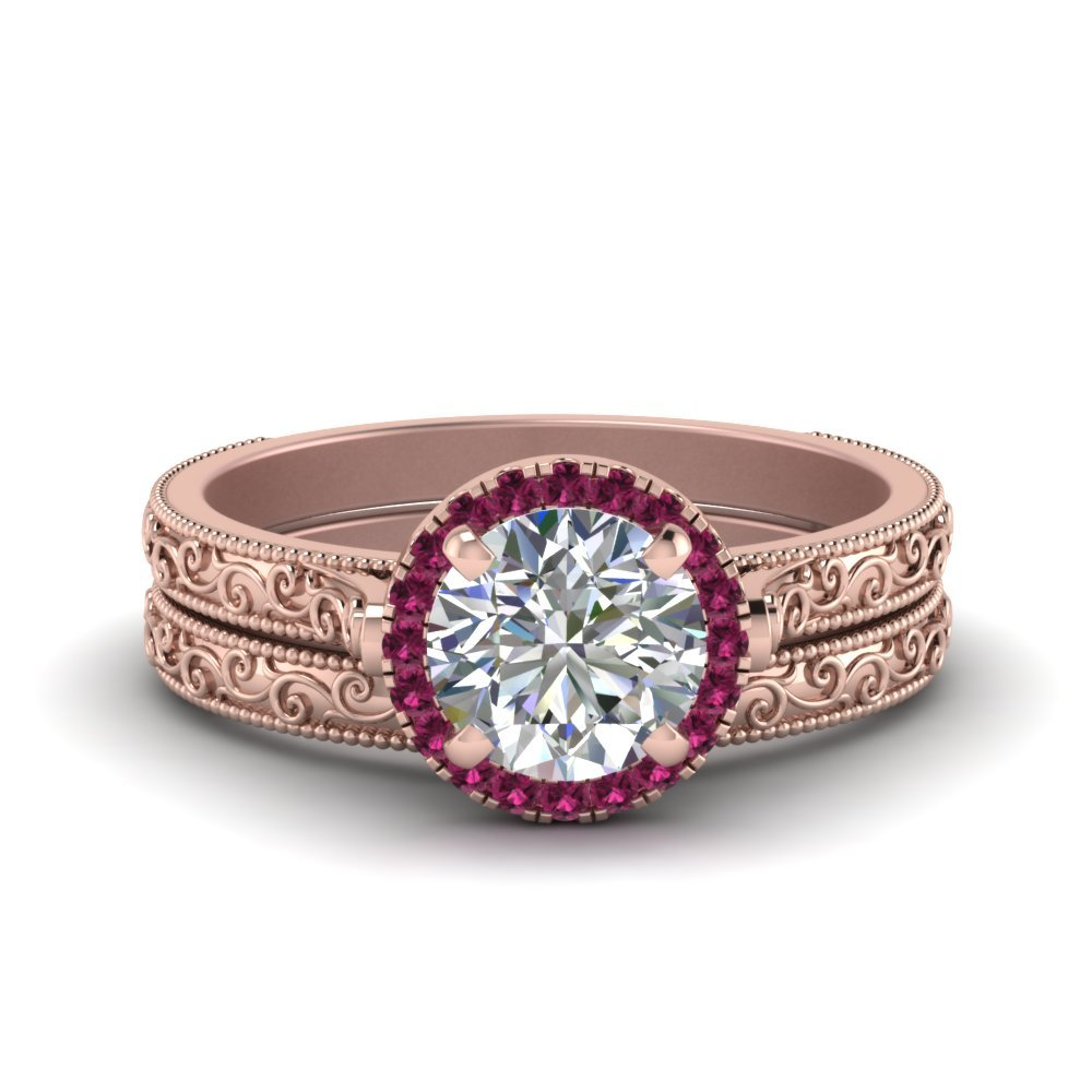 Hand Engraved Round Cut Halo Diamond Wedding Ring Set With Pink Sapphire In 14K Rose Gold