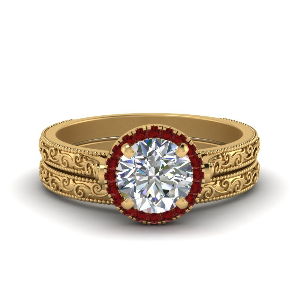 Engraved Halo Ruby Ring And Band