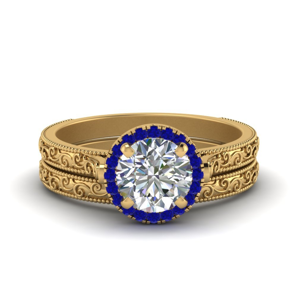 Hand Engraved Round Cut Halo Diamond Wedding Ring Set With Sapphire In 14K Yellow Gold