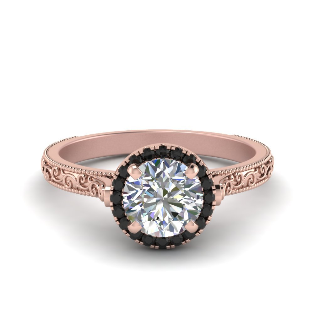Hand Engraved Round Cut Halo Engagement Ring With Black Diamond In 18K Rose Gold
