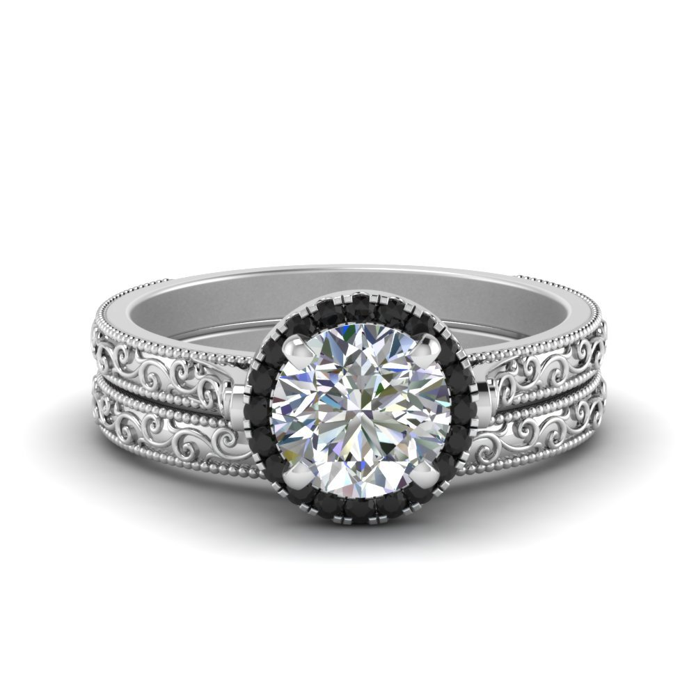 Black Diamond Halo Wedding Set