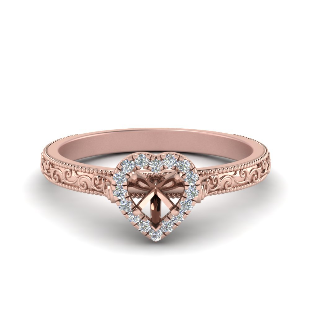 Hand Engraved Heart Shaped Halo Diamond Engagement Ring In 14K Rose Gold