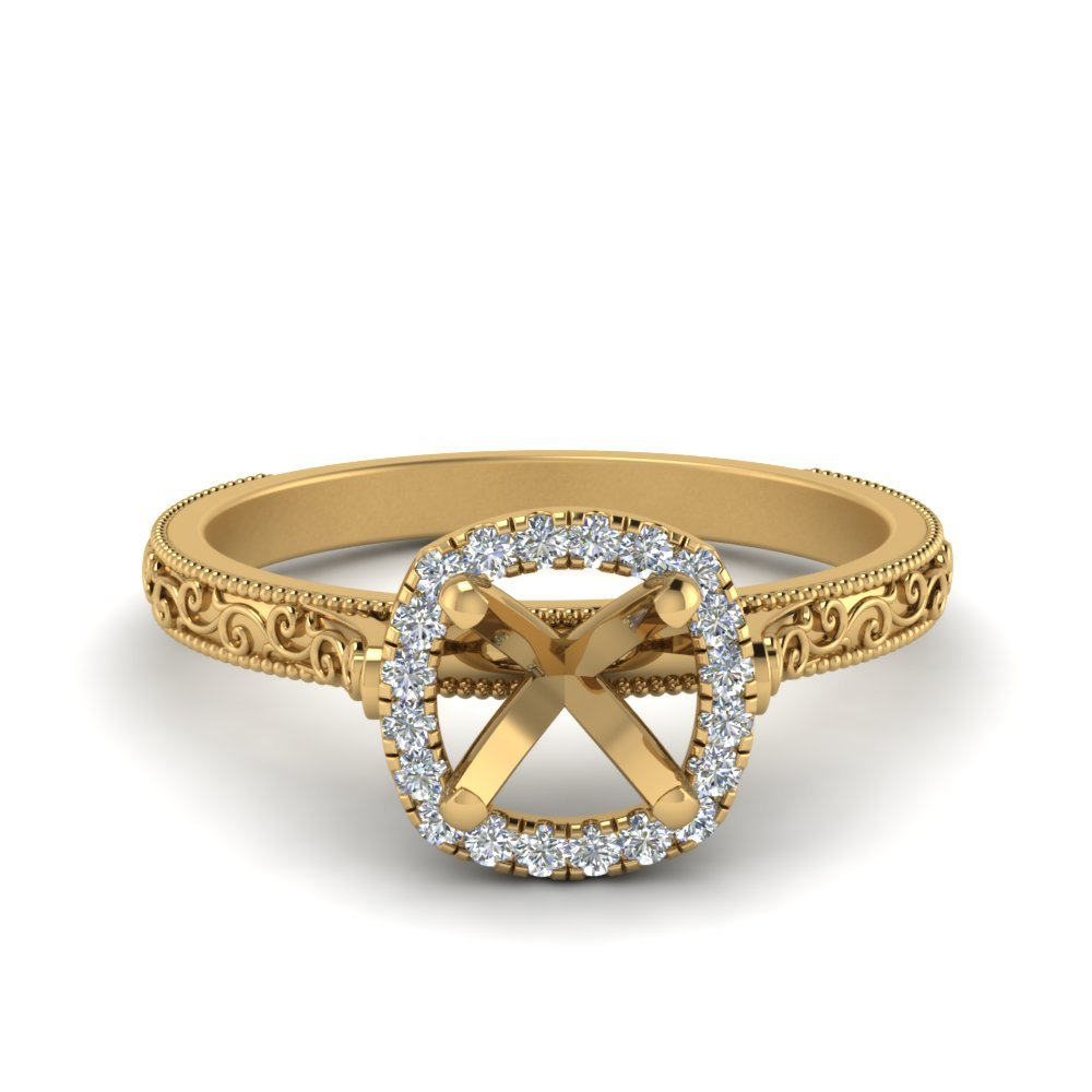 Hand Engraved Cushion Cut Halo Diamond Engagament Ring In 14K Yellow Gold