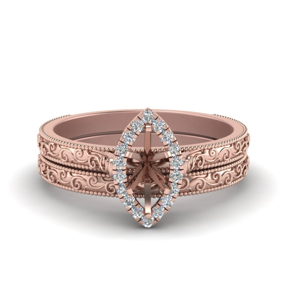 Hand Engraved Marquise Cut Halo Diamond Wedding Ring Set In 14K Rose Gold
