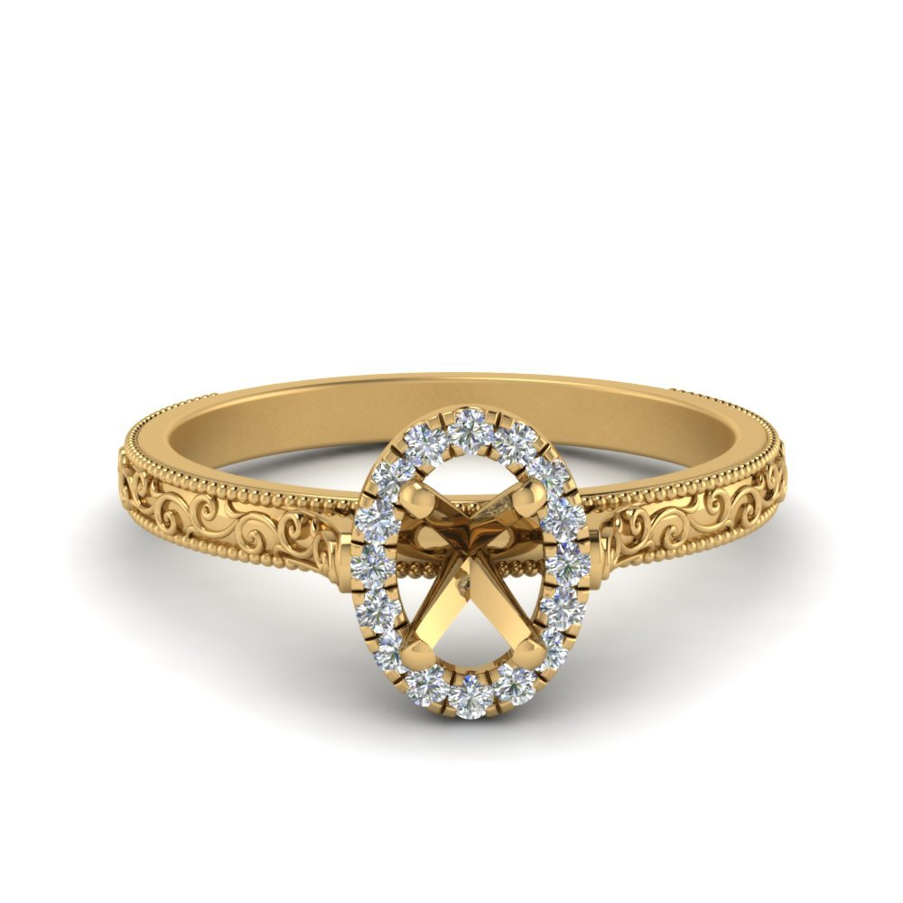 Hand Engraved Oval Shaped Halo Diamond Engagement Ring In 14K Yellow Gold