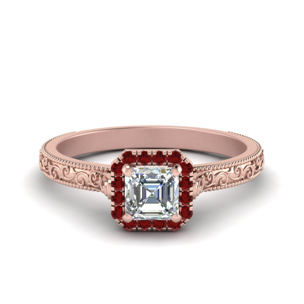 Halo Milgrain Vintage Ruby Ring