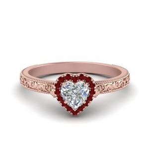 Ruby Heart Engagement Rings