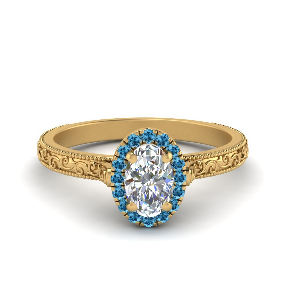 Blue Topaz Engraved Ring