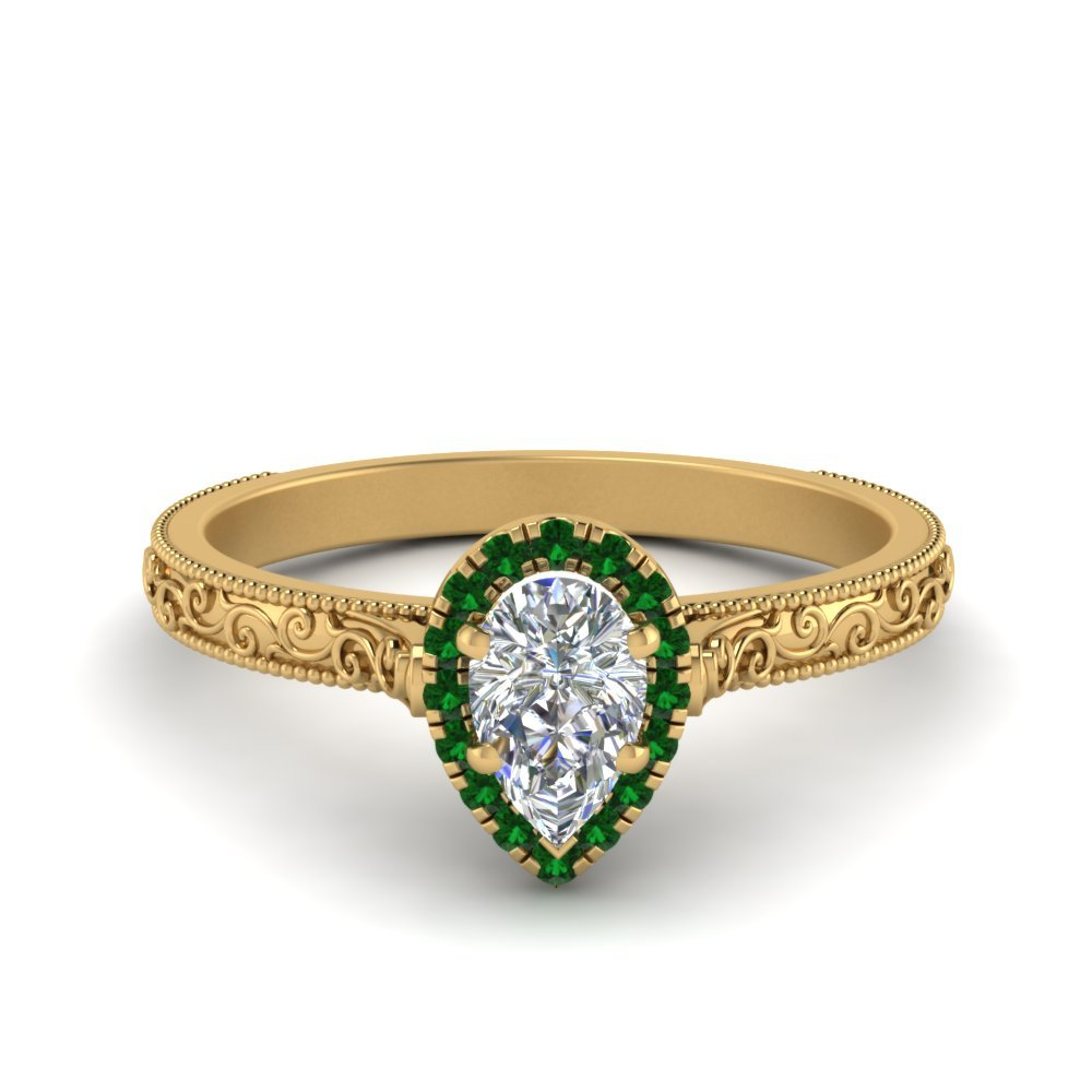 Engraved Halo Emerald Ring