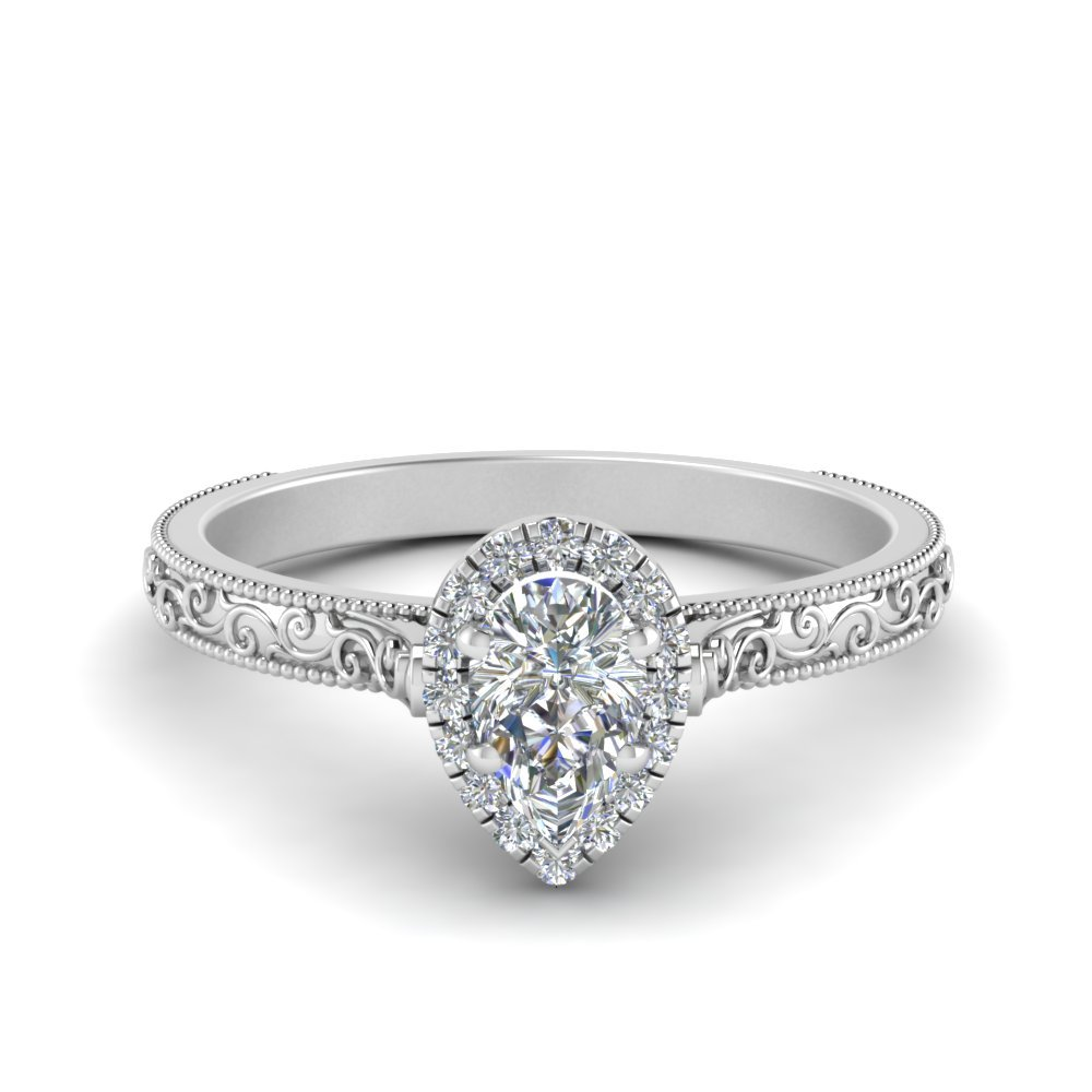 Engraved Pear Shaped Halo Ring