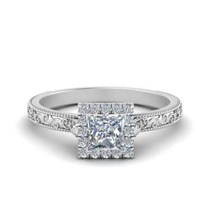 Milgrain Vintage Princess Cut Diamond Engagement Ring With Halo In 14K White Gold