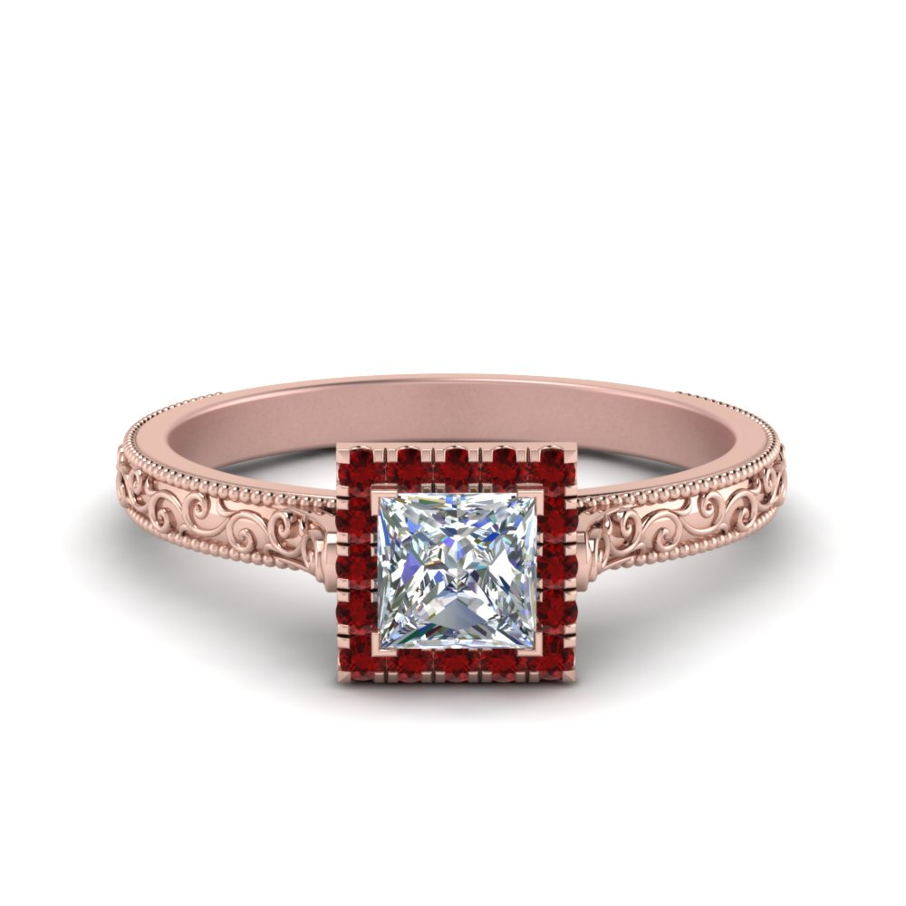 Milgrain Vintage Princess Cut Diamond Engagement Ring With Ruby Halo In 14K Rose Gold