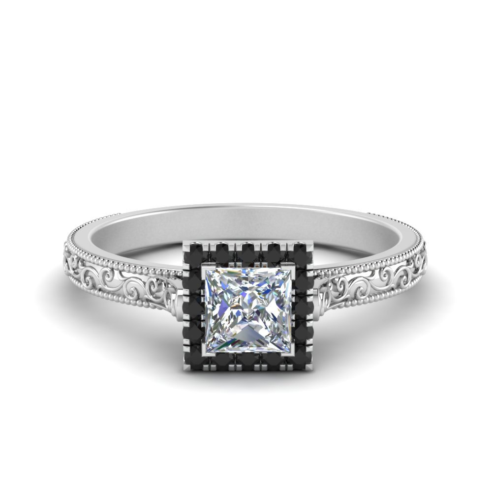 Halo Black Diamond Ring