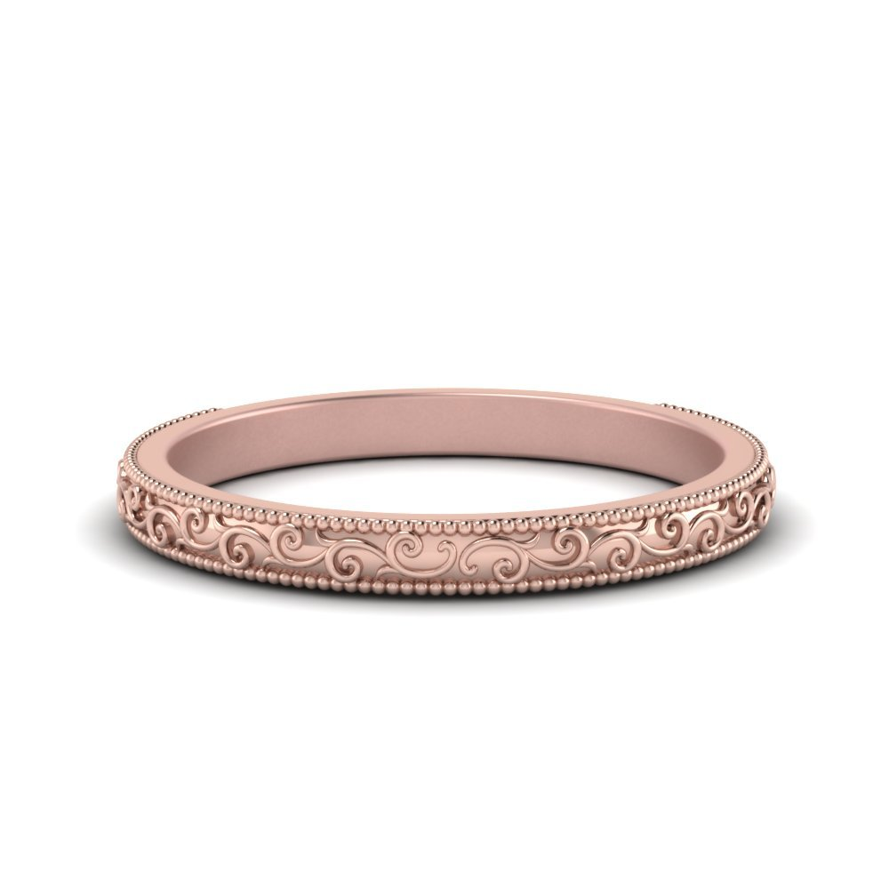 Hand Engraved Wedding Band In 14K Rose Gold
