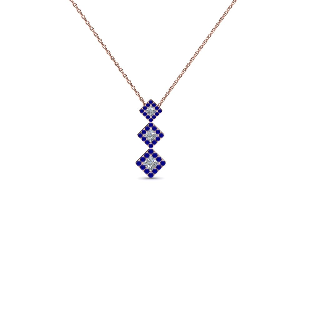 Handmade Square Diamond Drop Pendant Necklace Jewelry With Blue Sapphire In 14K Rose Gold