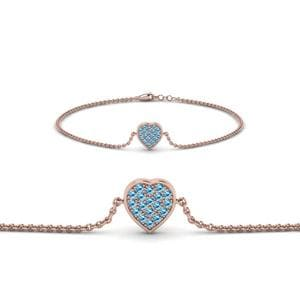 Heart Cluster Blue Topaz Bracelet In 18K Rose Gold