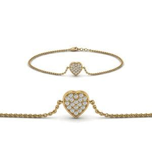 Heart Cluster Diamond Bracelet In 14K Yellow Gold
