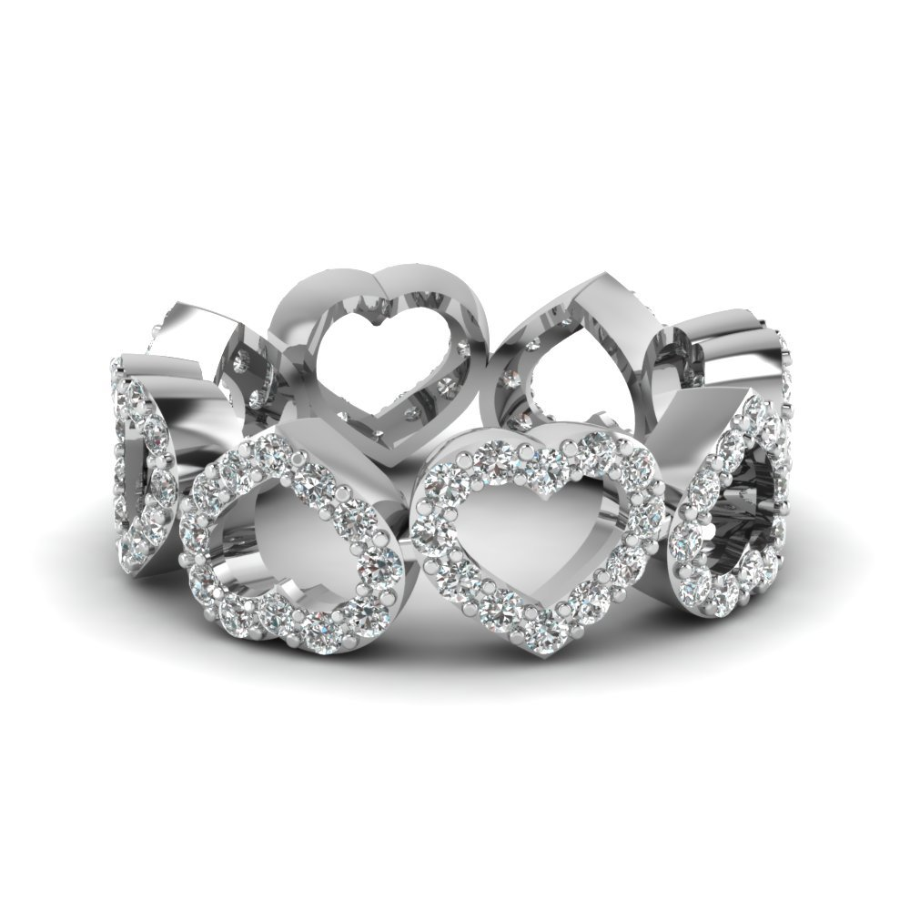 Heart Design Diamond Mom Band In 14K White Gold