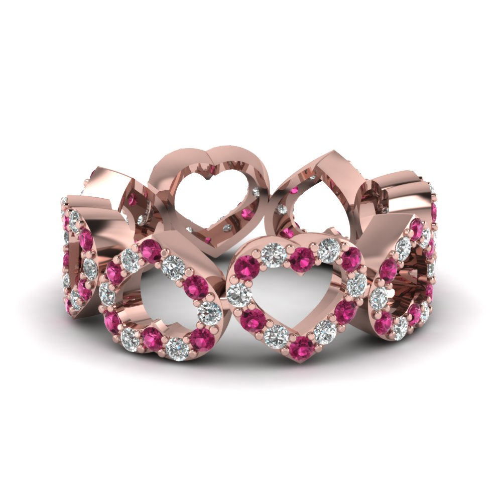 Heart Design Diamond Mom Band With Pink Sapphire In 14K Rose Gold