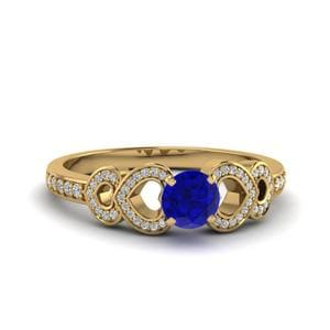 Heart Design Colored Gold Ring