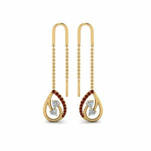 18K Yellow Gold Chain Thread Earring