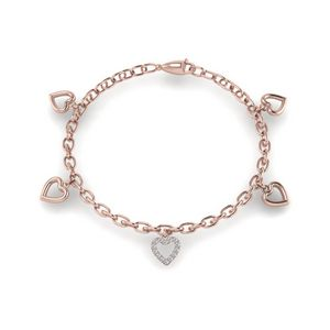 Heart Diamond Charm Bracelet In 14K Rose Gold