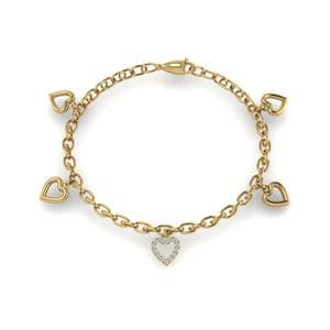 Heart Diamond Charm Bracelet