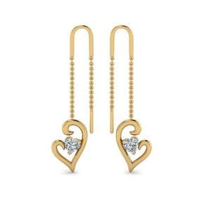 Heart Drop Thread Earring