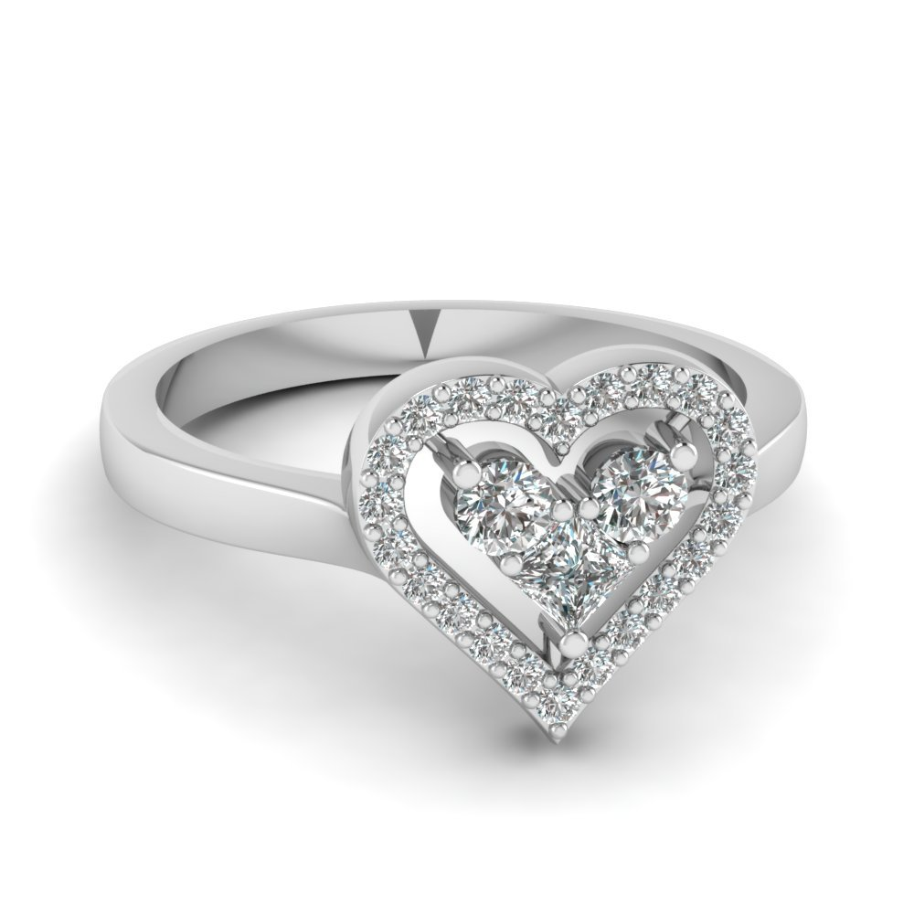 Heart Diamond Promise Ring In 18K White Gold