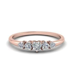 Heart Diamond Graduated 5 Stone Wedding Ring In 14K Rose Gold