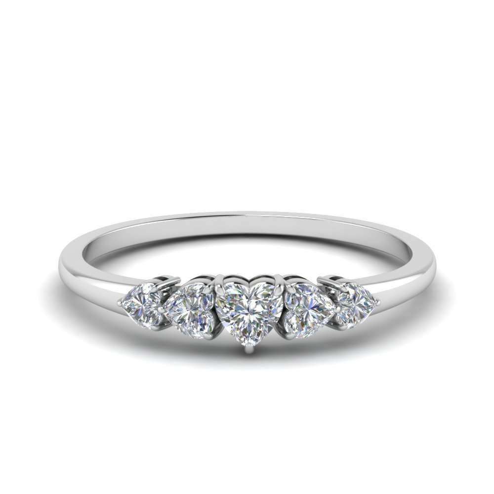 1.75 Ct. Heart Diamond Graduated 5 Stone Ring