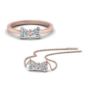 18K Rose Gold Diamond Ring With Pendant