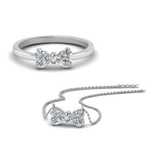 14K White Gold Diamond Ring & Pendant