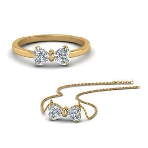 14K Yellow Gold Heart Diamond Ring and Pendant